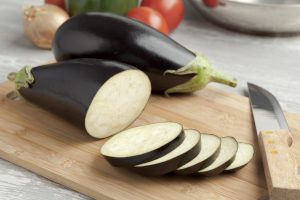 Eggplant on Cutting Board