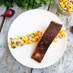 Coconut Mango Salsa With Salmon