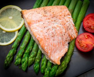 Salmon Fillet On Asparagus Bed