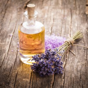 Essential Oil With Lavender Flower And Seasalt